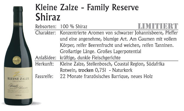 Kleine Zalze Family Res. Shiraz 2015