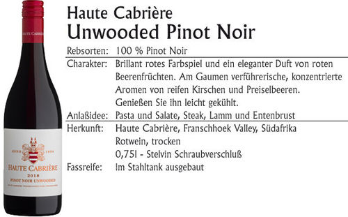 Haute Cabriere Unwooded Pinot Noir 2018