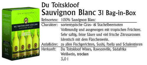 Du Toitskloof 3l Bag-in-Box Sauvignon Blanc 2018