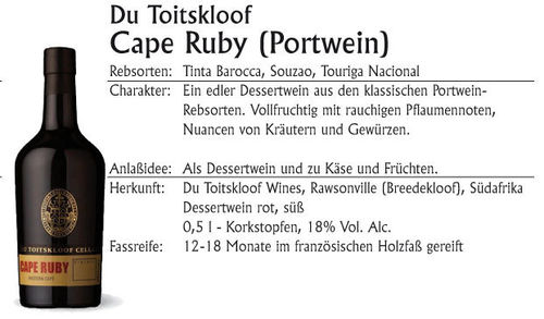 Du Toitskloof Cape Ruby 500ml (Port-Methode)