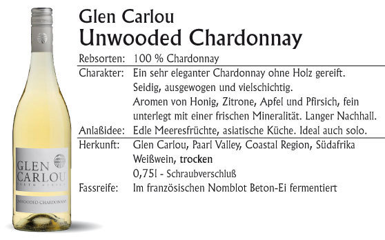 Glen Carlou unwooded Chardonnay 2019