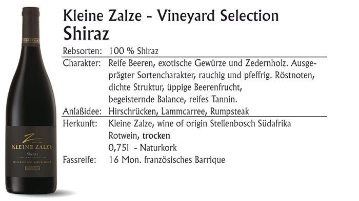 Kleine Zalze Vineyard Shiraz 2016