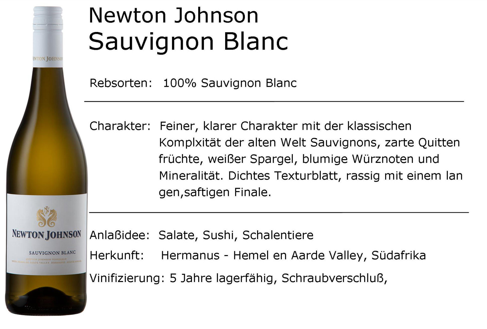Newton Johnson Sauvignon Blanc 2019