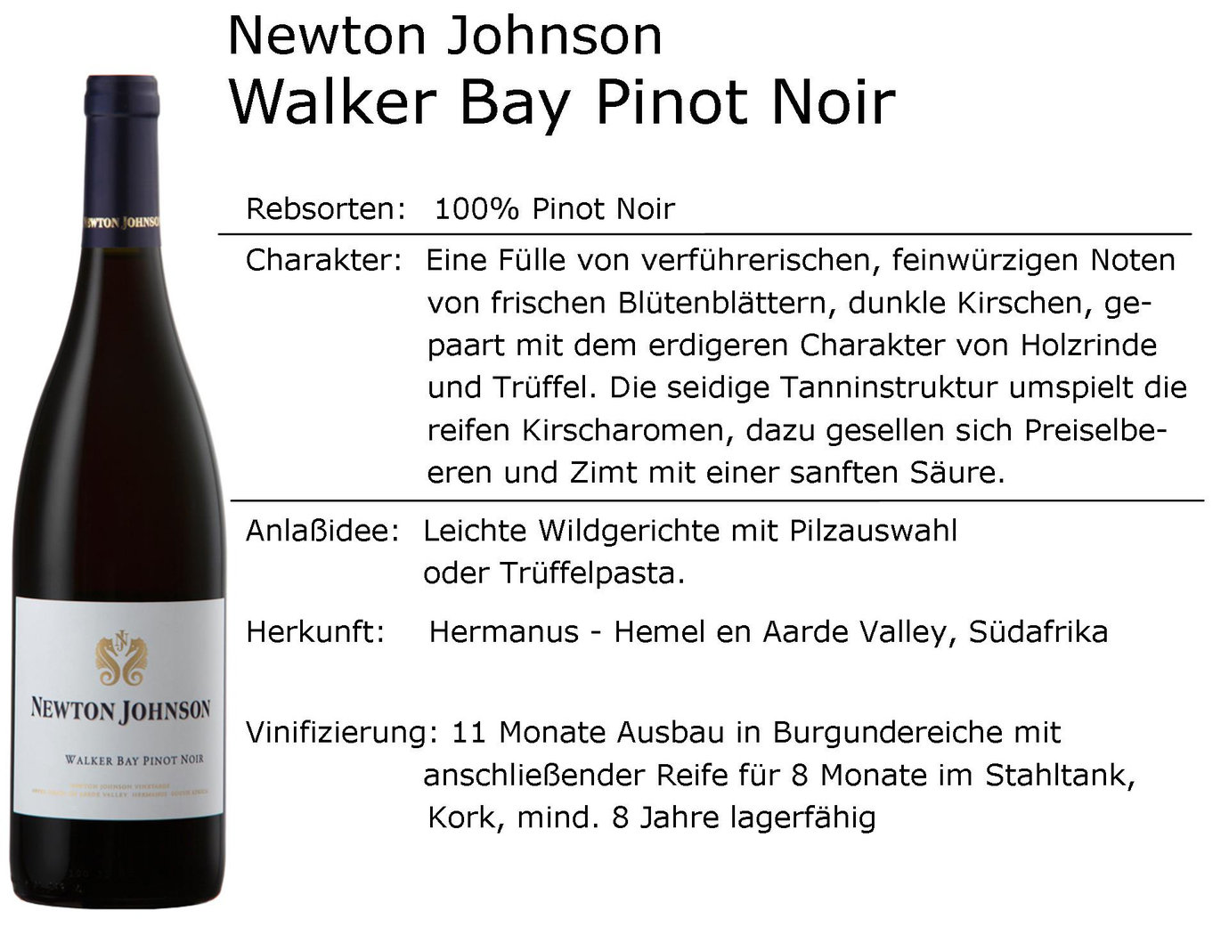 Newton Johnson Walker Bay Pinot Noir 2018