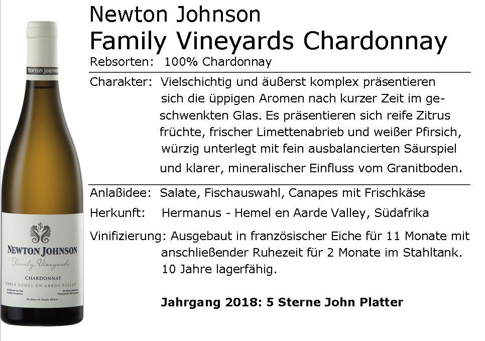 Newton Johnson Family Vineyards Chardonnay 2017