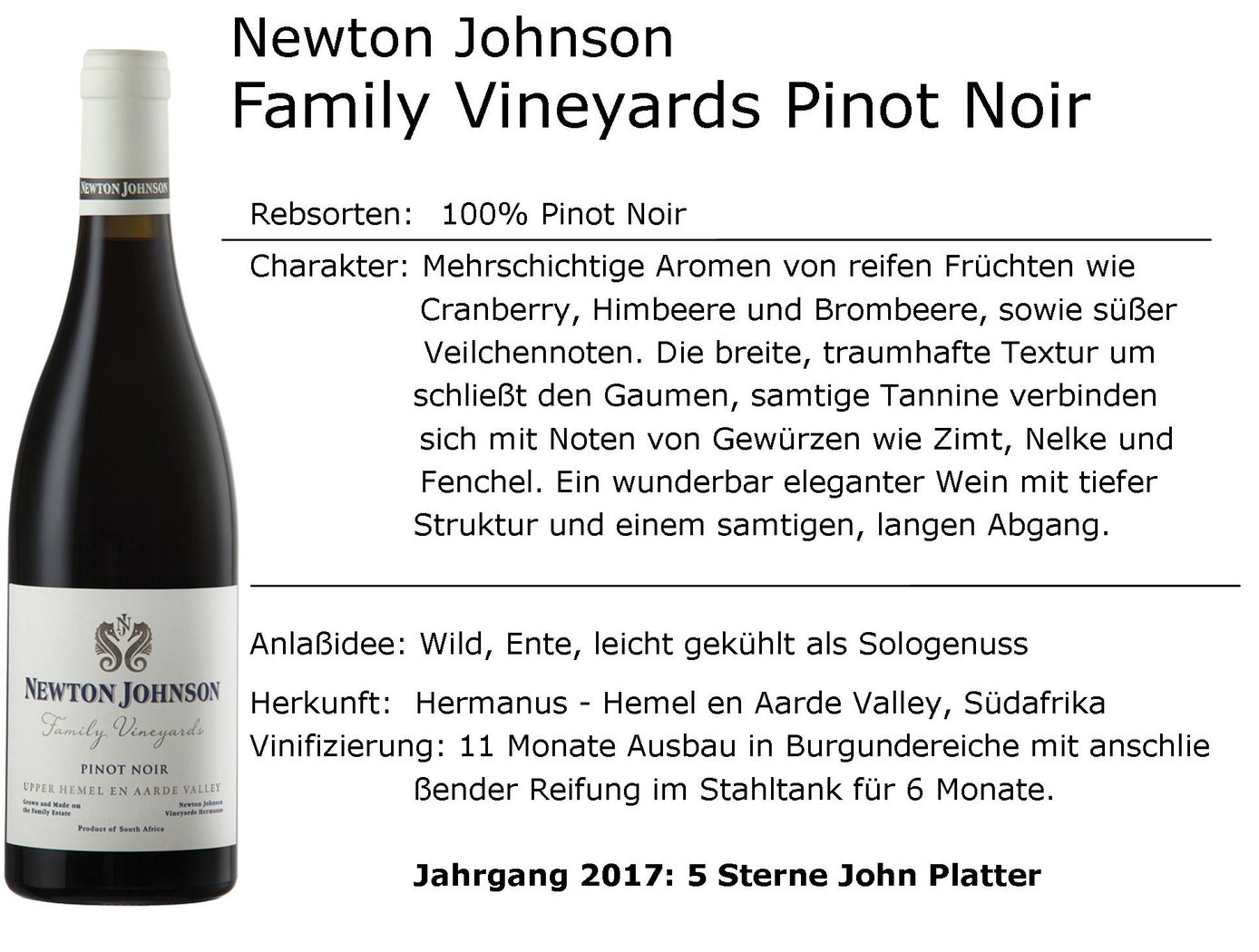 Newton Johnson Family Vineyards Pinot Noir 2018