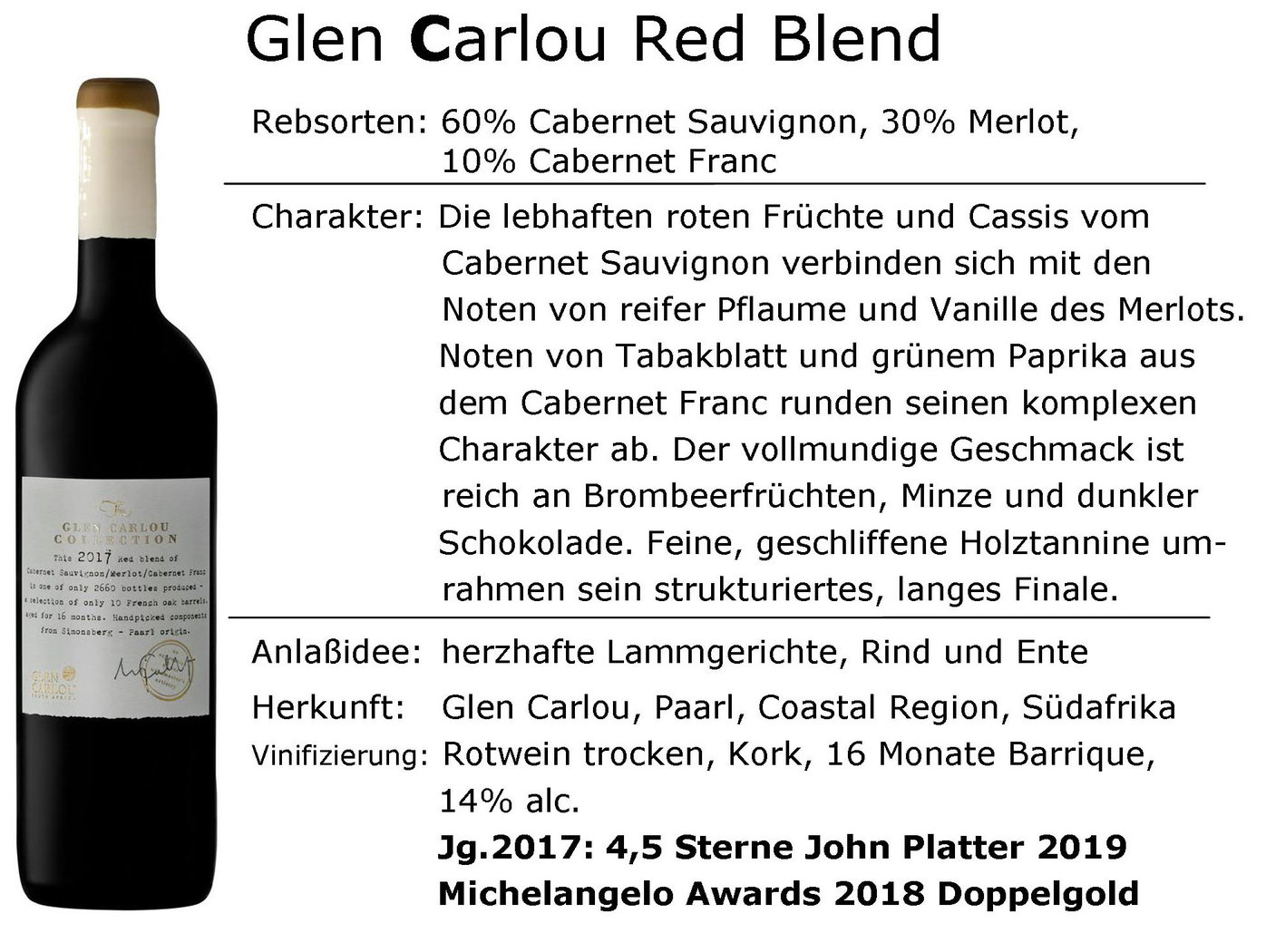 Glen Carlou Collection Red Blend 2017