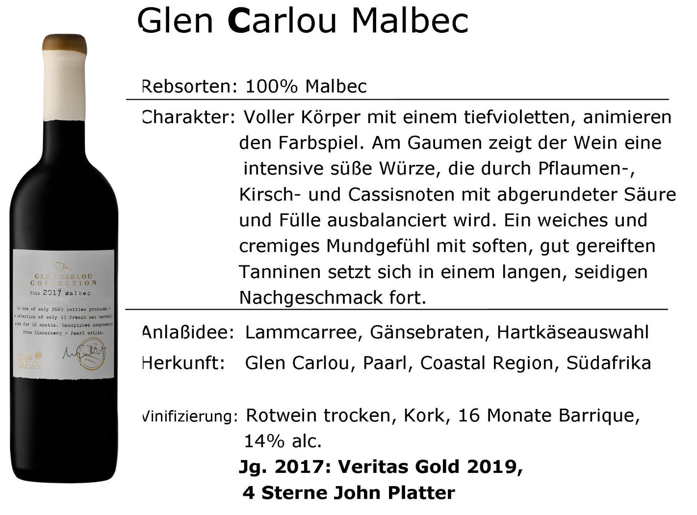Glen Carlou Collection Malbec 2017