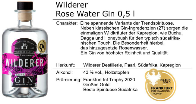 Wilderer Rose Water Gin 0,5l.