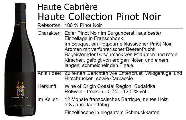 Haute Cabriere Haute Collection Pinot Noir 2018