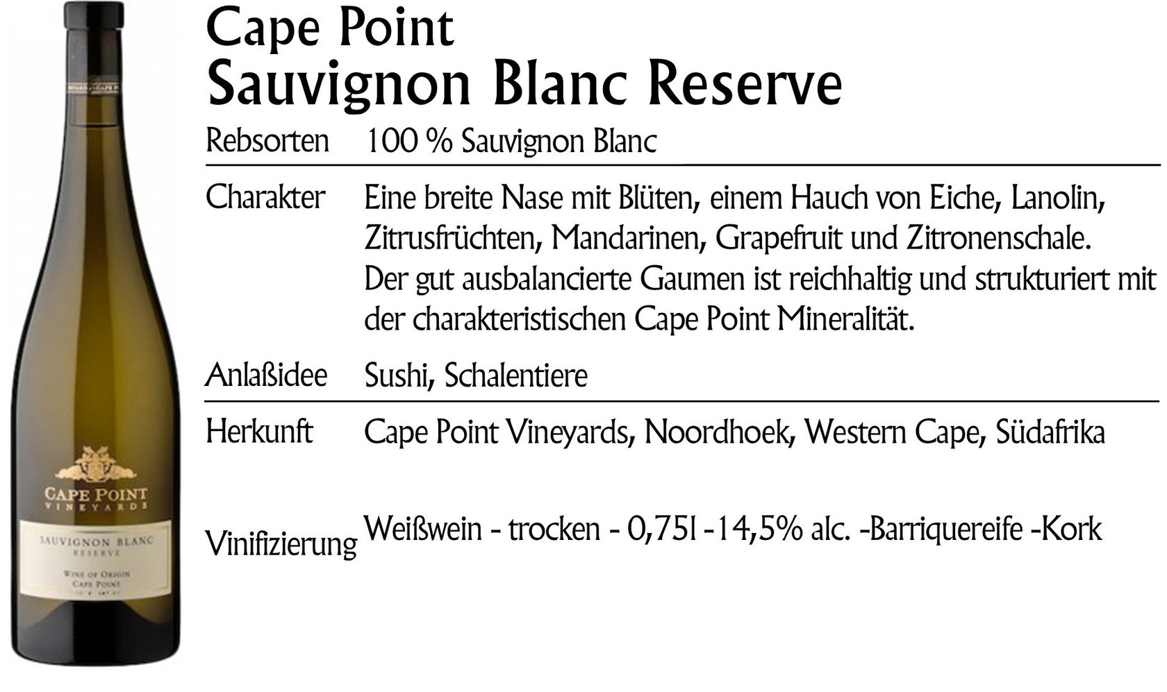 Cape Point Sauvignon Blanc Reserve 2017