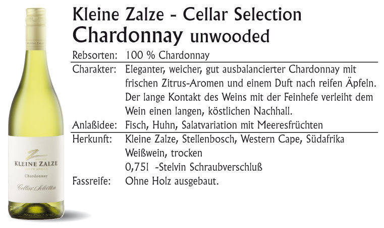 Kleine Zalze Cellar Chardonnay unwooded 2020